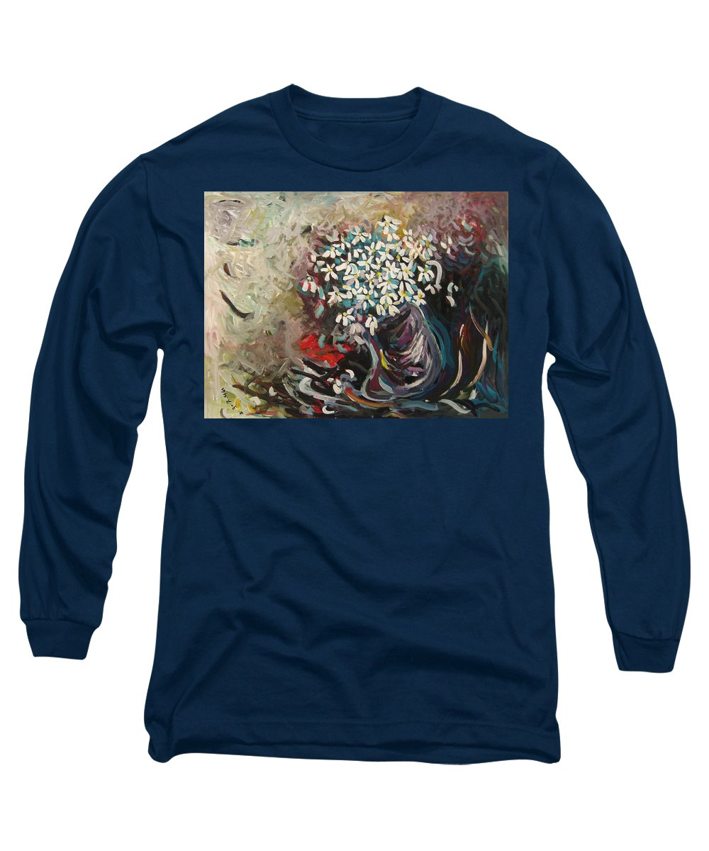 Daisy Paintings Long Sleeve T-Shirt featuring the painting Daisy In Vase3 by Seon-Jeong Kim