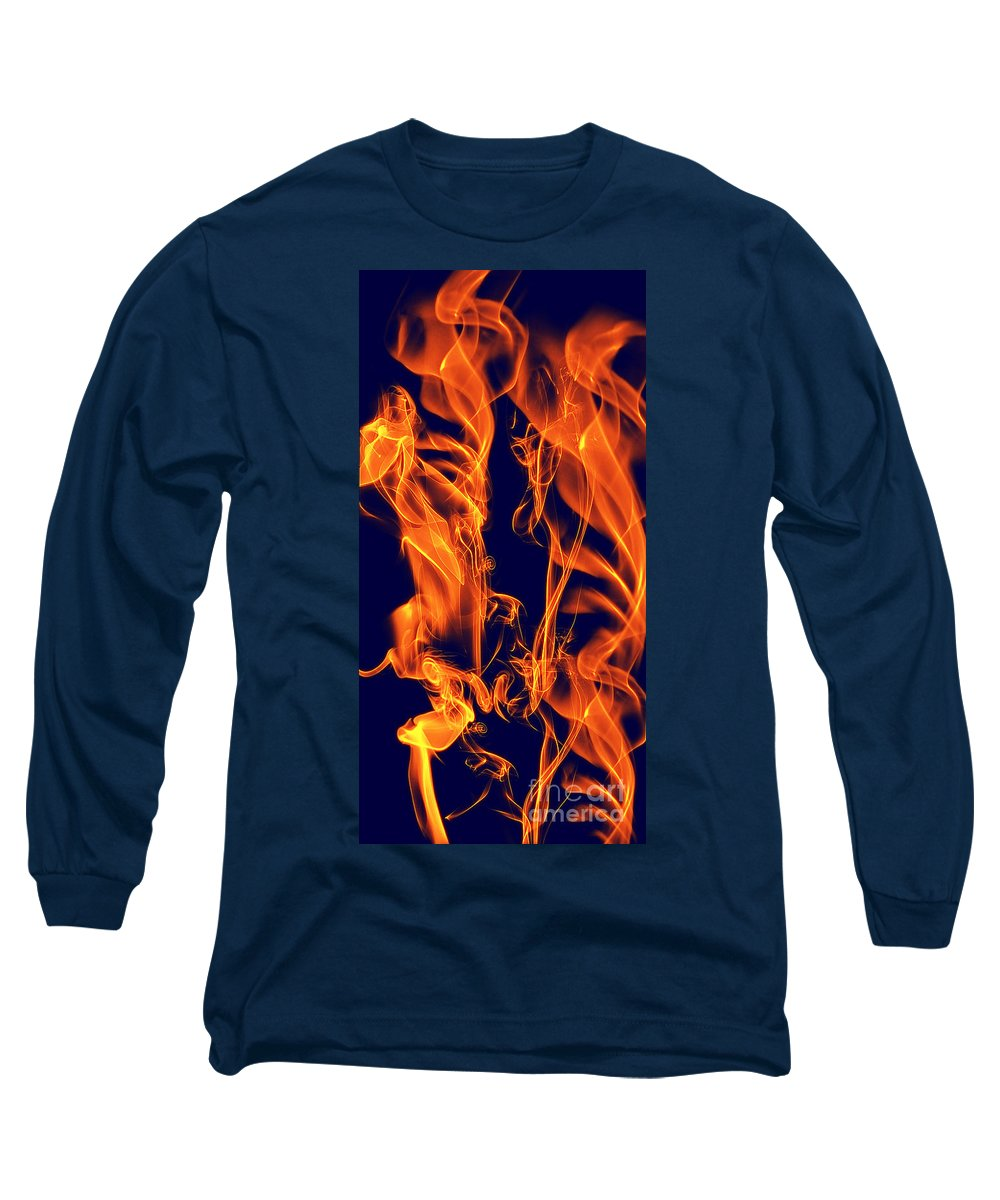 Clay Long Sleeve T-Shirt featuring the digital art Dancing Fire I by Clayton Bruster