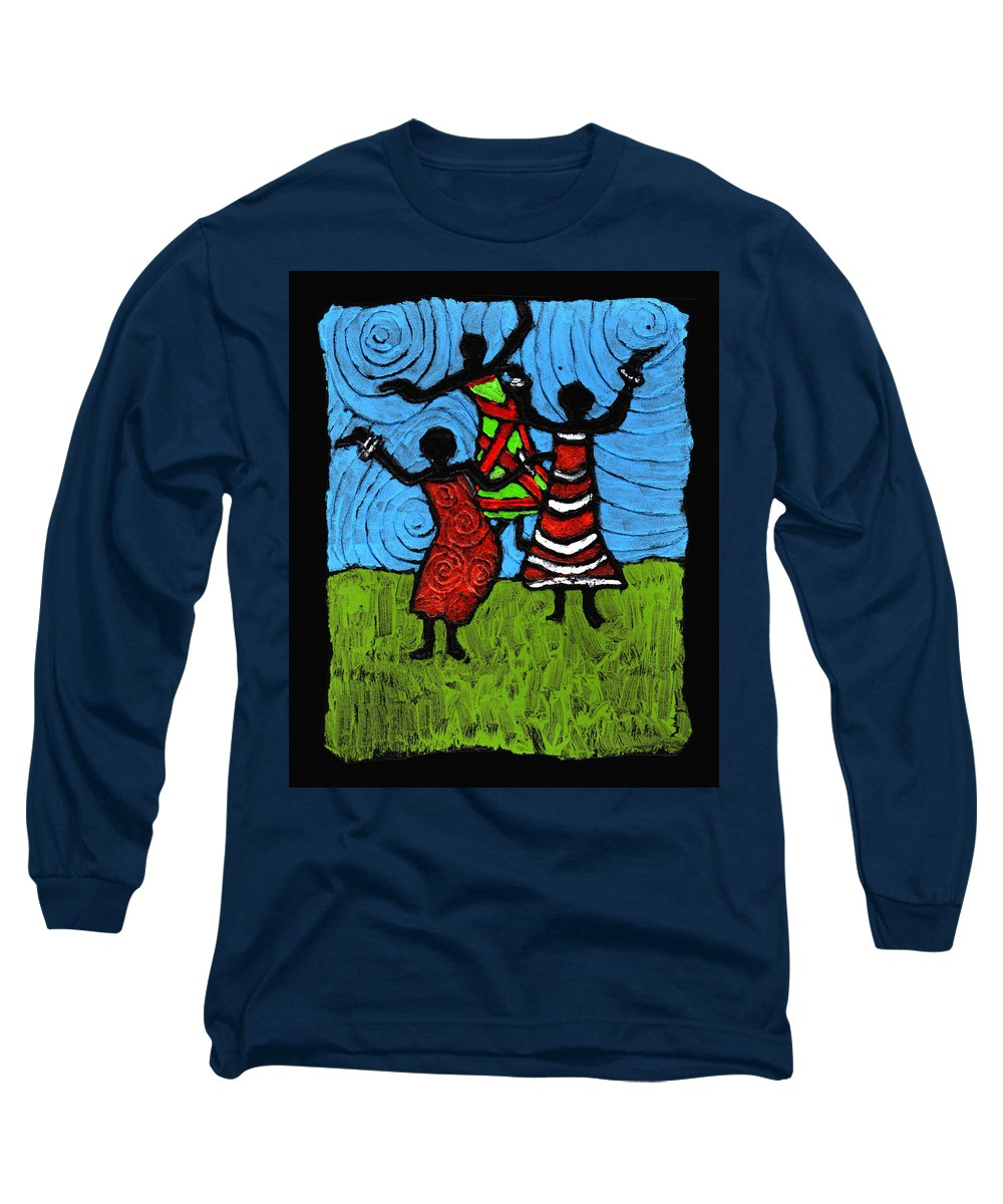 Black Art Long Sleeve T-Shirt featuring the painting Dancing So Good I Started To Fly by Wayne Potrafka
