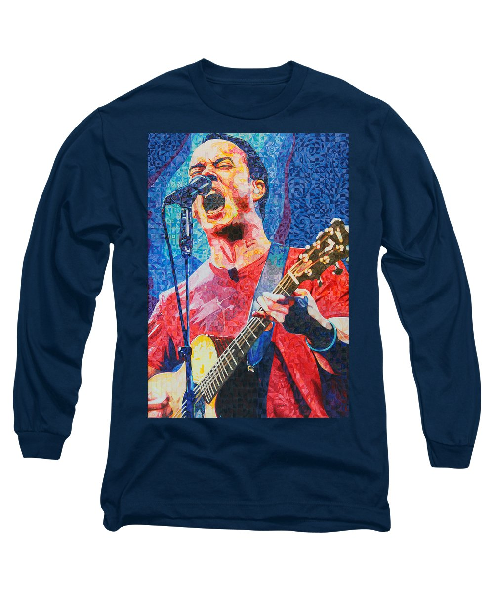 Dave Matthews Long Sleeve T-Shirt featuring the drawing Dave Matthews Squared by Joshua Morton
