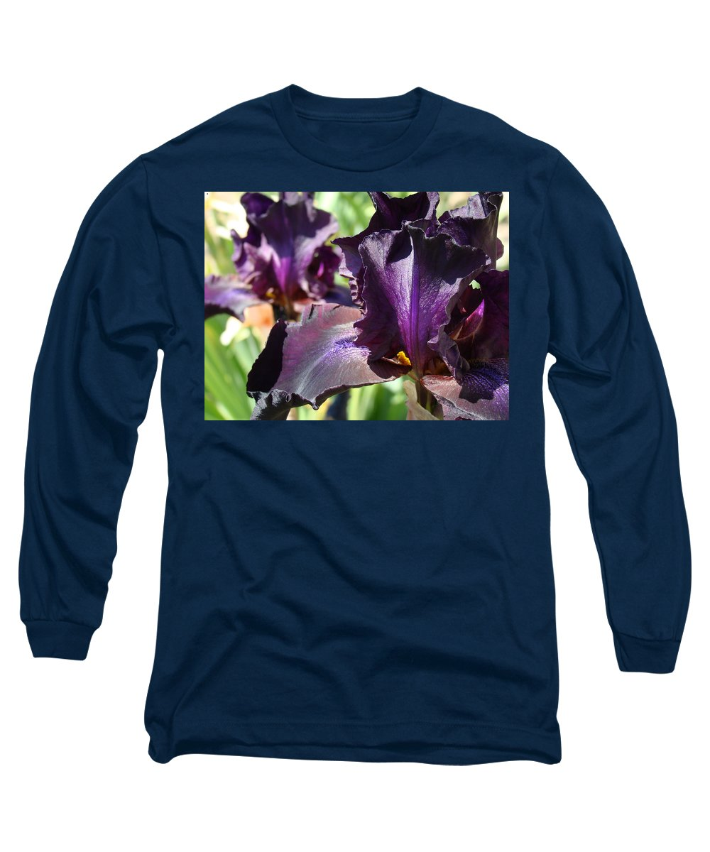 �irises Artwork� Long Sleeve T-Shirt featuring the photograph Deep Purple Irises Dark Purple Irises Summer Garden Art Prints by Baslee Troutman