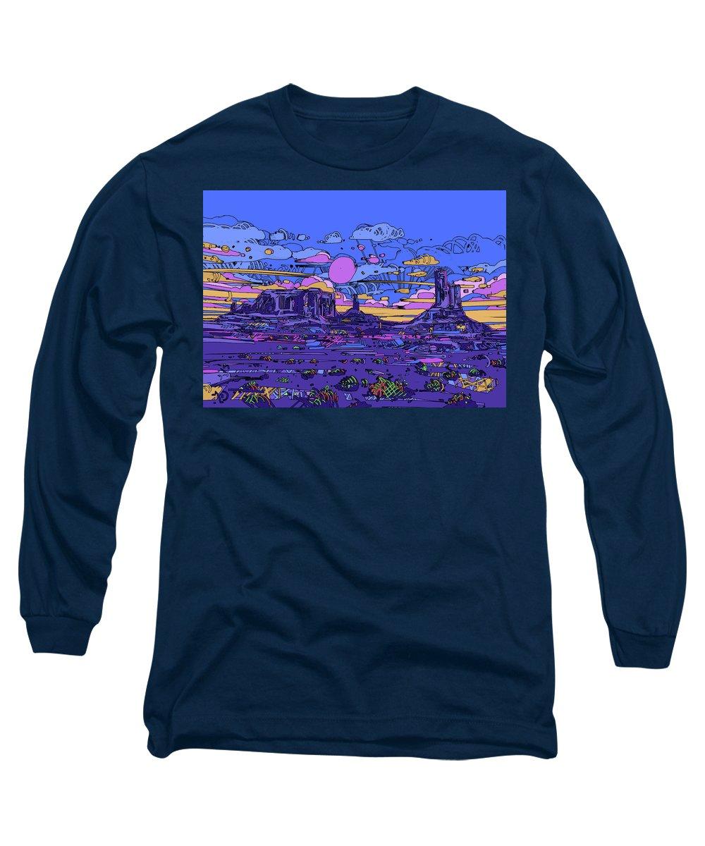 Desert Long Sleeve T-Shirt featuring the digital art Desert Sunset by Bekim M