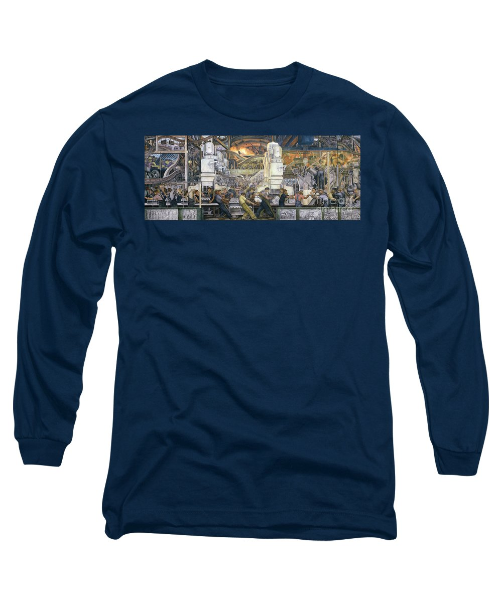 Machinery; Factory; Production Line; Labour; Worker; Male; Industrial Age; Technology; Automobile; Interior; Manufacturing; Work; Detroit Industry Long Sleeve T-Shirt featuring the painting Detroit Industry  North Wall by Diego Rivera