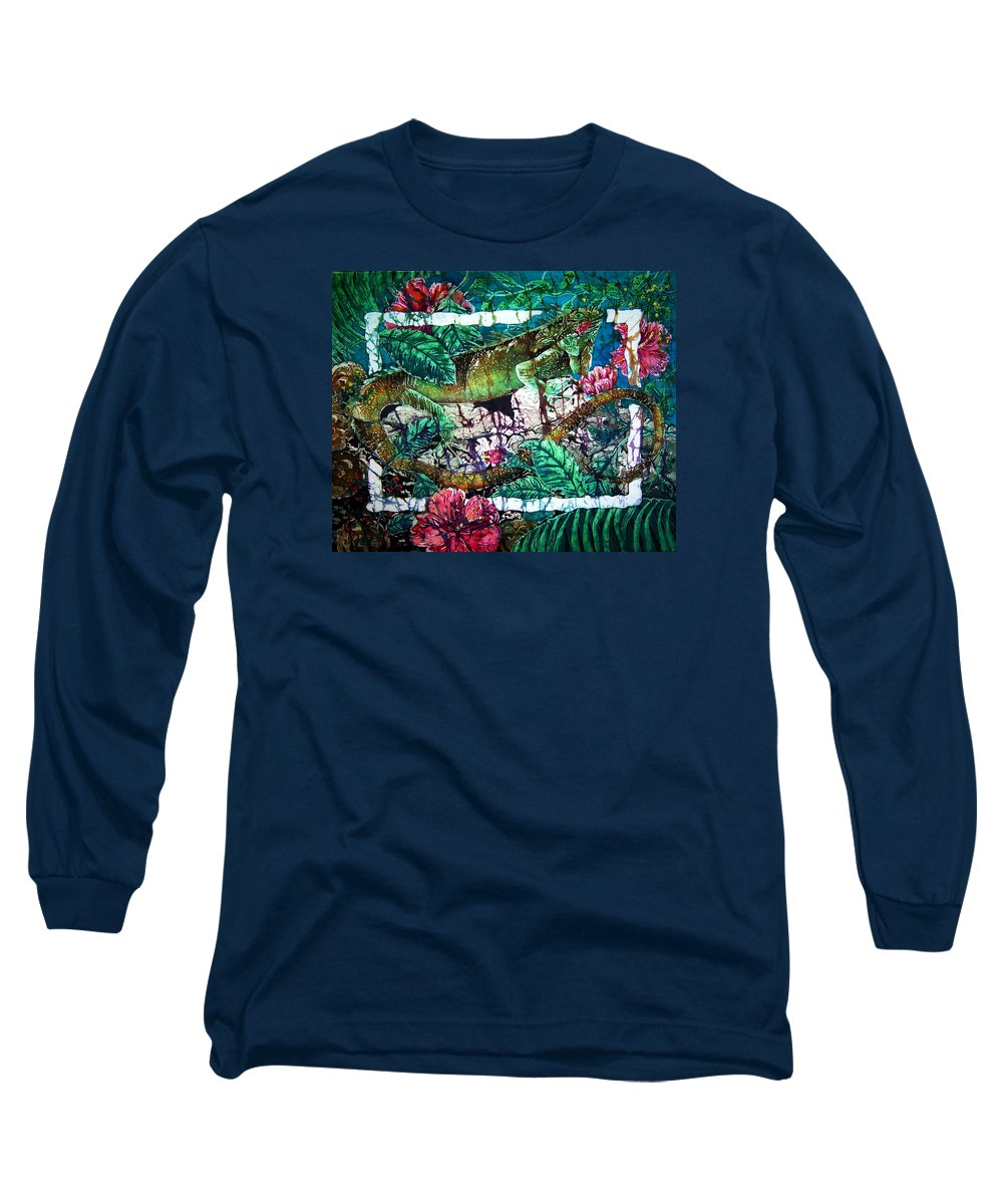 Iguana Long Sleeve T-Shirt featuring the painting Dining At The Hibiscus Cafe - Iguana by Sue Duda