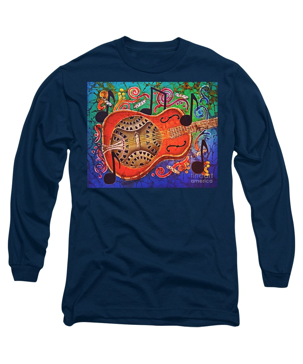 Dobro Long Sleeve T-Shirt featuring the tapestry - textile Dobro - Slide Guitar by Sue Duda