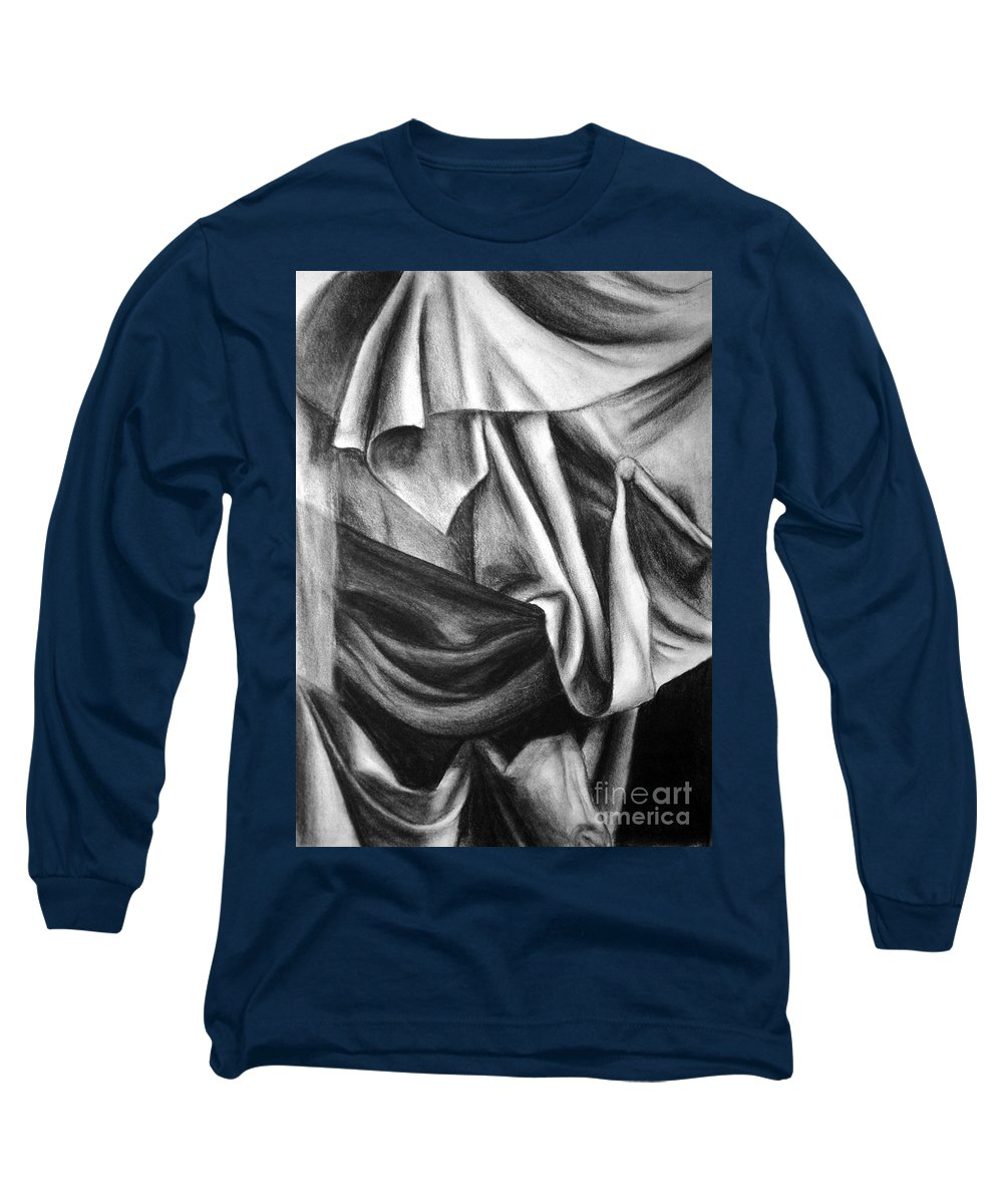 Charcoal Long Sleeve T-Shirt featuring the drawing Drapery Still Life by Nancy Mueller