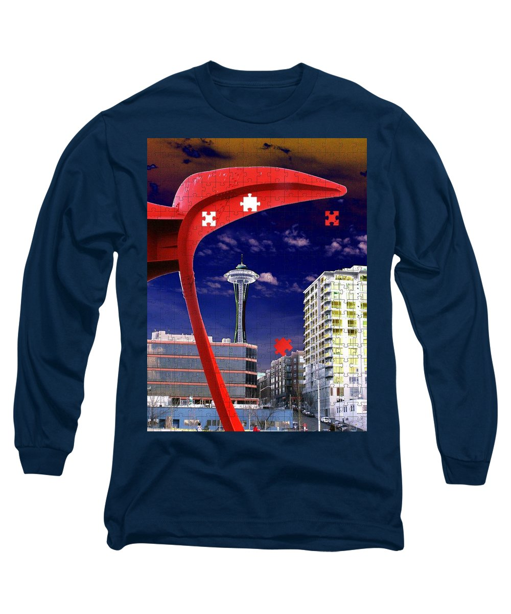 Seattle Long Sleeve T-Shirt featuring the digital art Eagle Needle by Tim Allen