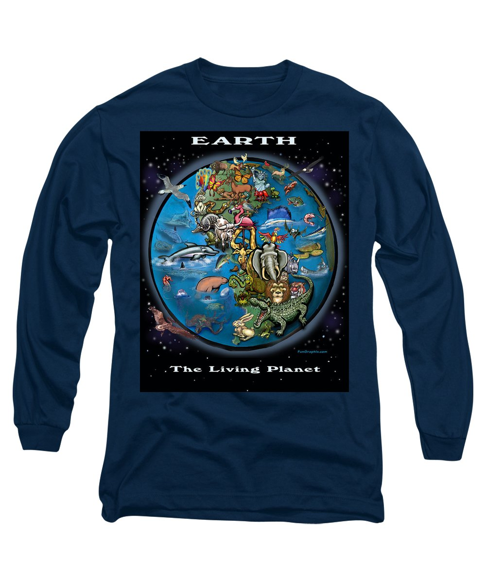 Earth Long Sleeve T-Shirt featuring the painting Earth by Kevin Middleton