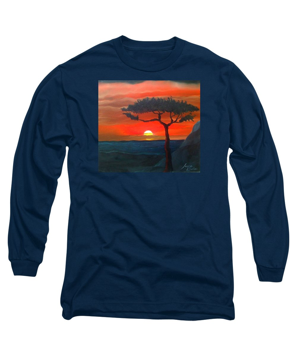 Africa! Long Sleeve T-Shirt featuring the painting East African Sunset by Portland Art Creations