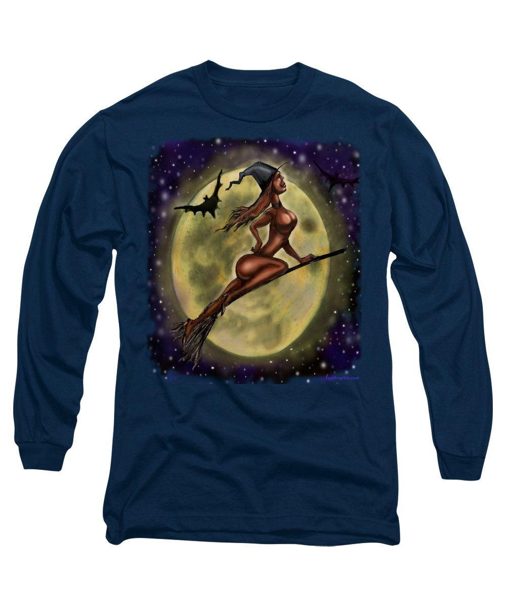 Halloween Long Sleeve T-Shirt featuring the digital art Enchanting Halloween Witch by Kevin Middleton