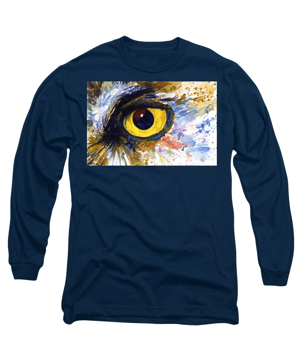 Owls Long Sleeve T-Shirt featuring the painting Eyes Of Owl's No.6 by John D Benson