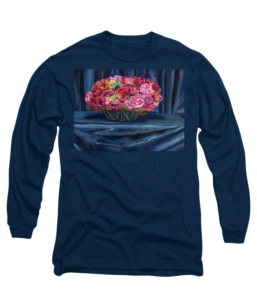 Flowers Long Sleeve T-Shirt featuring the painting Fabric And Flowers by Sharon E Allen