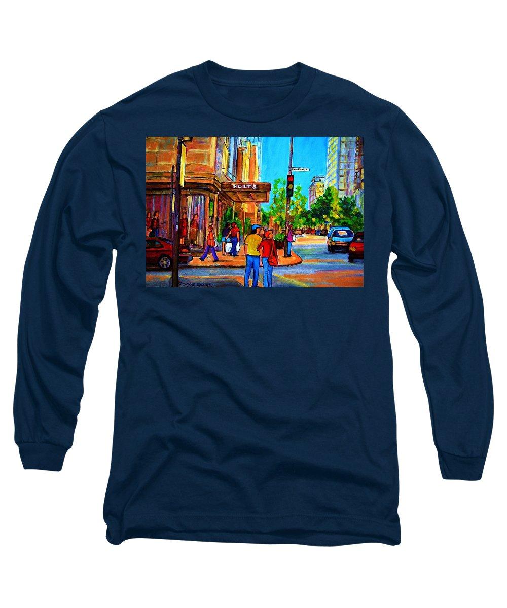 Holt Renfrew Long Sleeve T-Shirt featuring the painting Fashionable Holt Renfrew by Carole Spandau