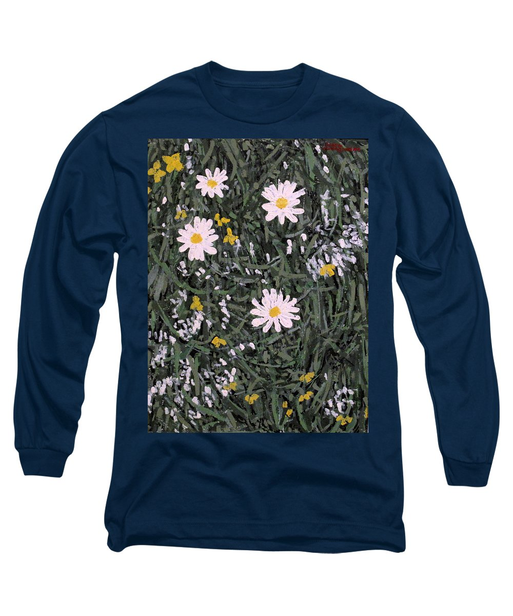 Daisies Long Sleeve T-Shirt featuring the painting Field Daisies by Ian MacDonald