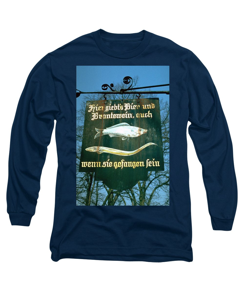 Store Sign Long Sleeve T-Shirt featuring the photograph Fish by Flavia Westerwelle