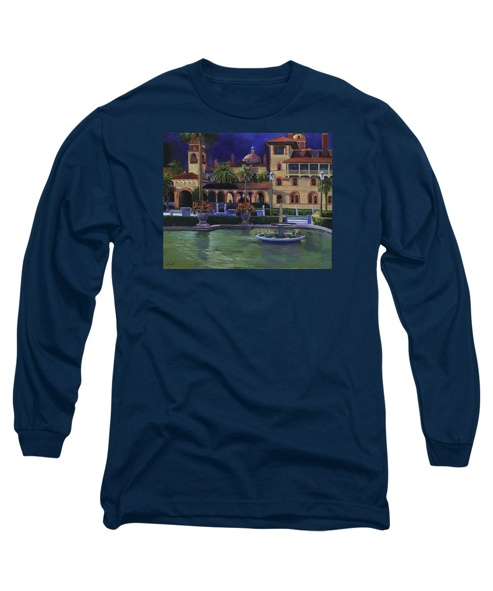St. Augustine\'s Flagler College Campus Long Sleeve T-Shirt featuring the painting Flagler College II by Christine Cousart