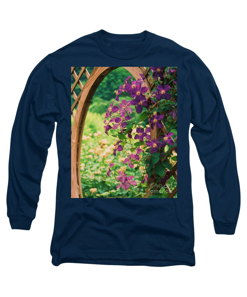 Floral Long Sleeve T-Shirt featuring the painting Flowers On Vine by Eric Schiabor