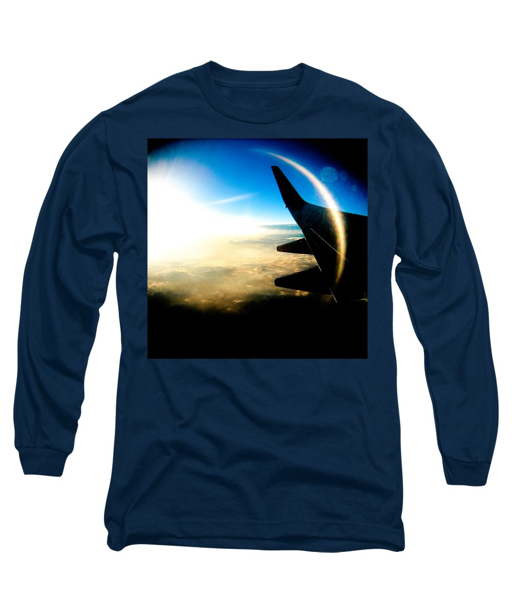 Plane Sky Sun Holga Color Photograph Long Sleeve T-Shirt featuring the photograph Fly Like A Dolphin by Olivier De Rycke