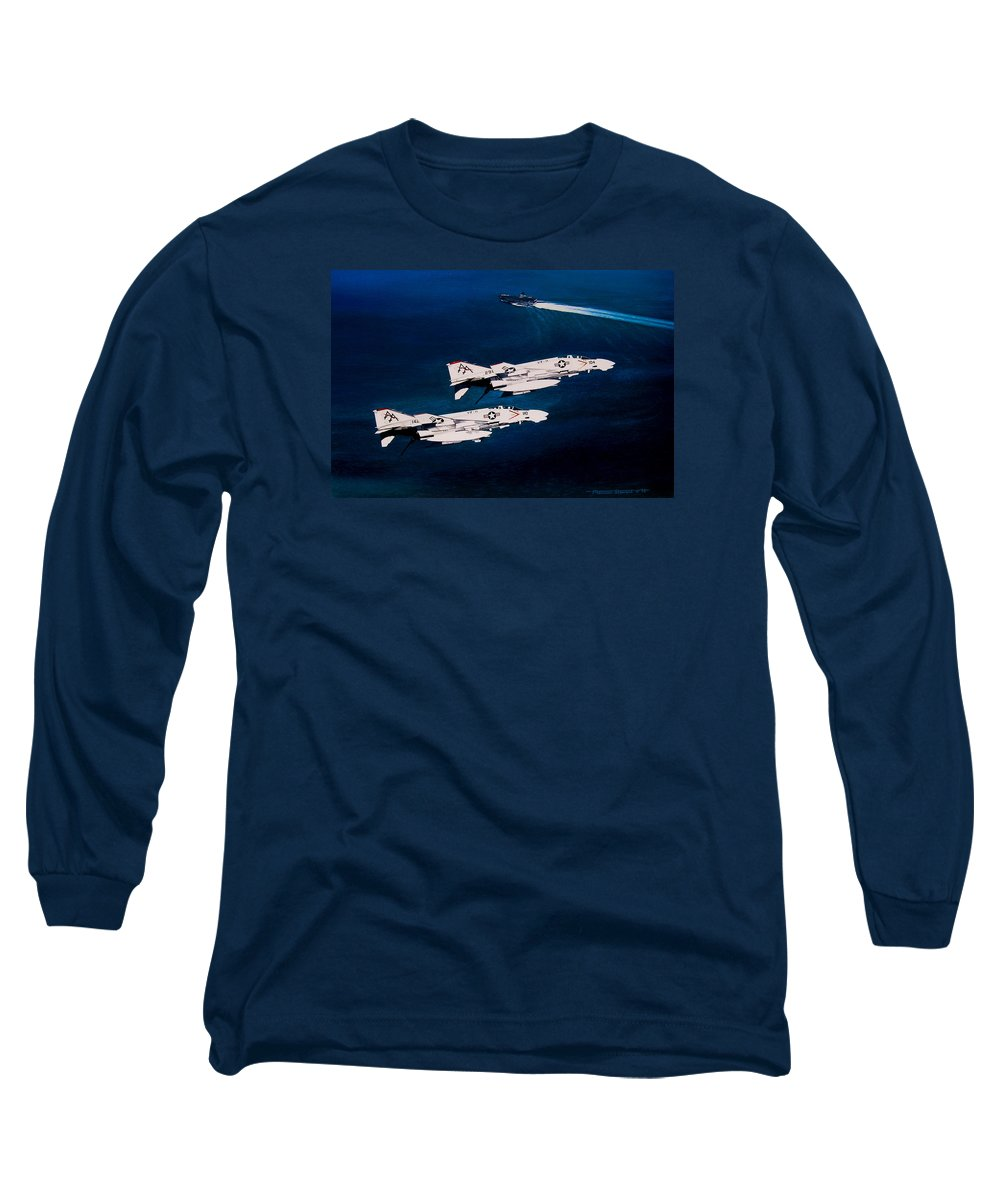 Military Long Sleeve T-Shirt featuring the painting Forrestal S Phantoms by Marc Stewart