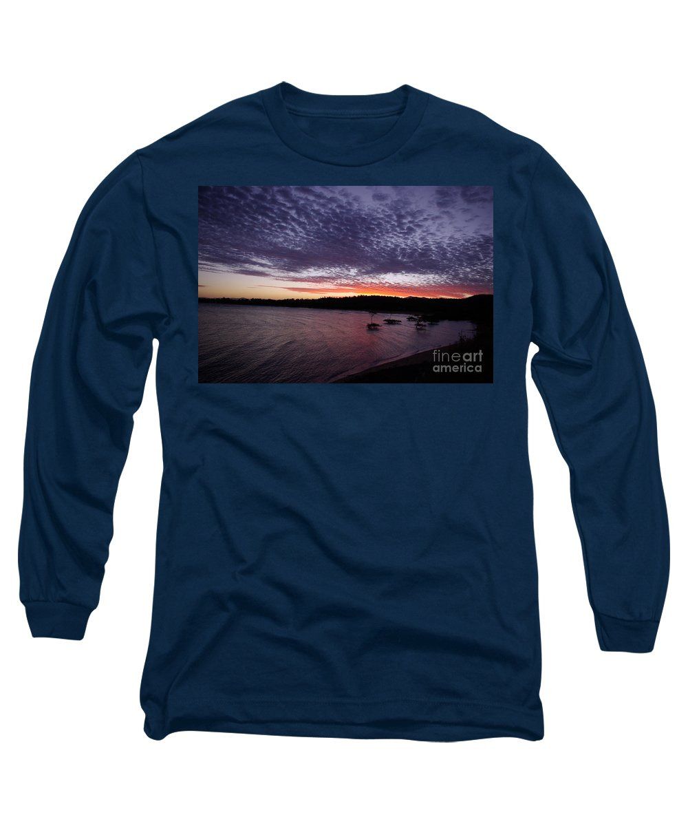 Landscape Long Sleeve T-Shirt featuring the photograph Four Elements Sunset Sequence 7 Coconuts Qld by Kerryn Madsen - Pietsch