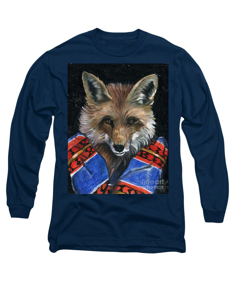 Fox Long Sleeve T-Shirt featuring the painting Fox Medicine by J W Baker