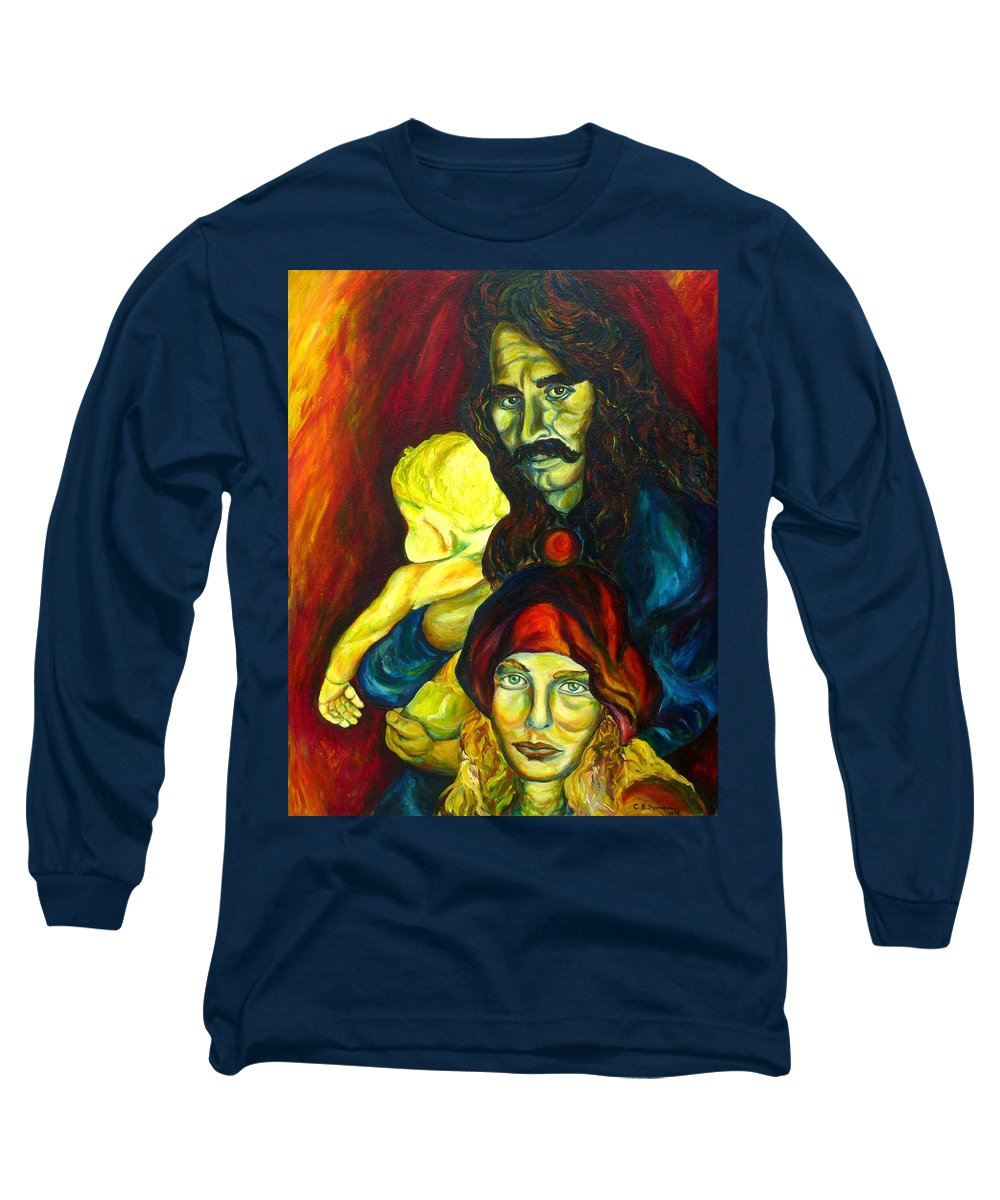 Frank Zappa Long Sleeve T-Shirt featuring the painting Frank Zappa  by Carole Spandau