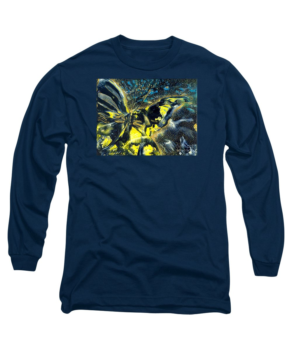 Butterfly Long Sleeve T-Shirt featuring the painting Freedom For Margot by Heather Hennick