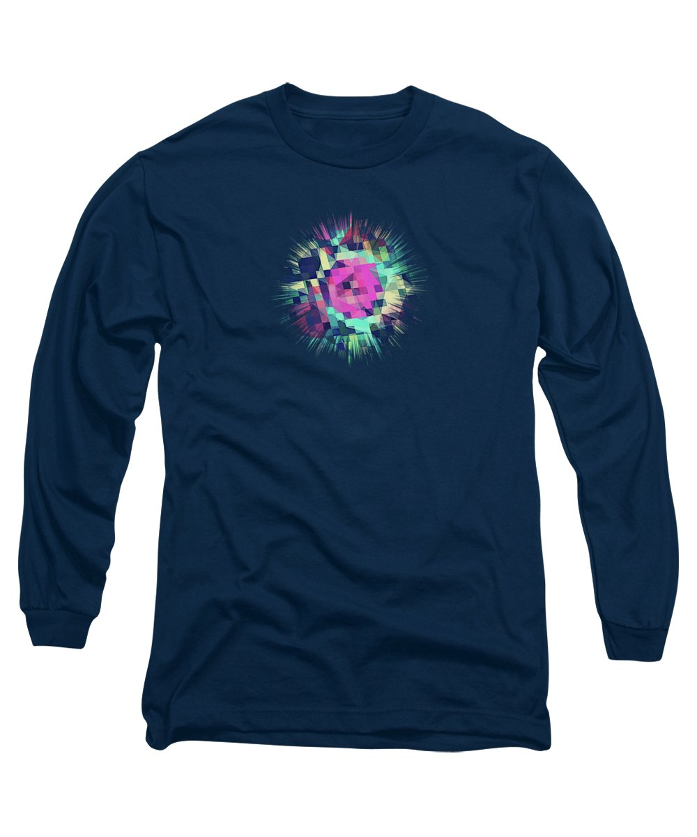 Abstract Long Sleeve T-Shirt featuring the digital art Fruity Rose  Fancy Colorful Abstraction Pattern Design green pink blue by Philipp Rietz