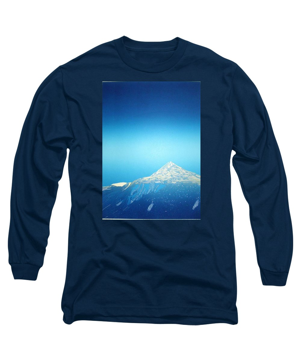 Long Sleeve T-Shirt featuring the drawing Gaustatoppen. by Jarle Rosseland