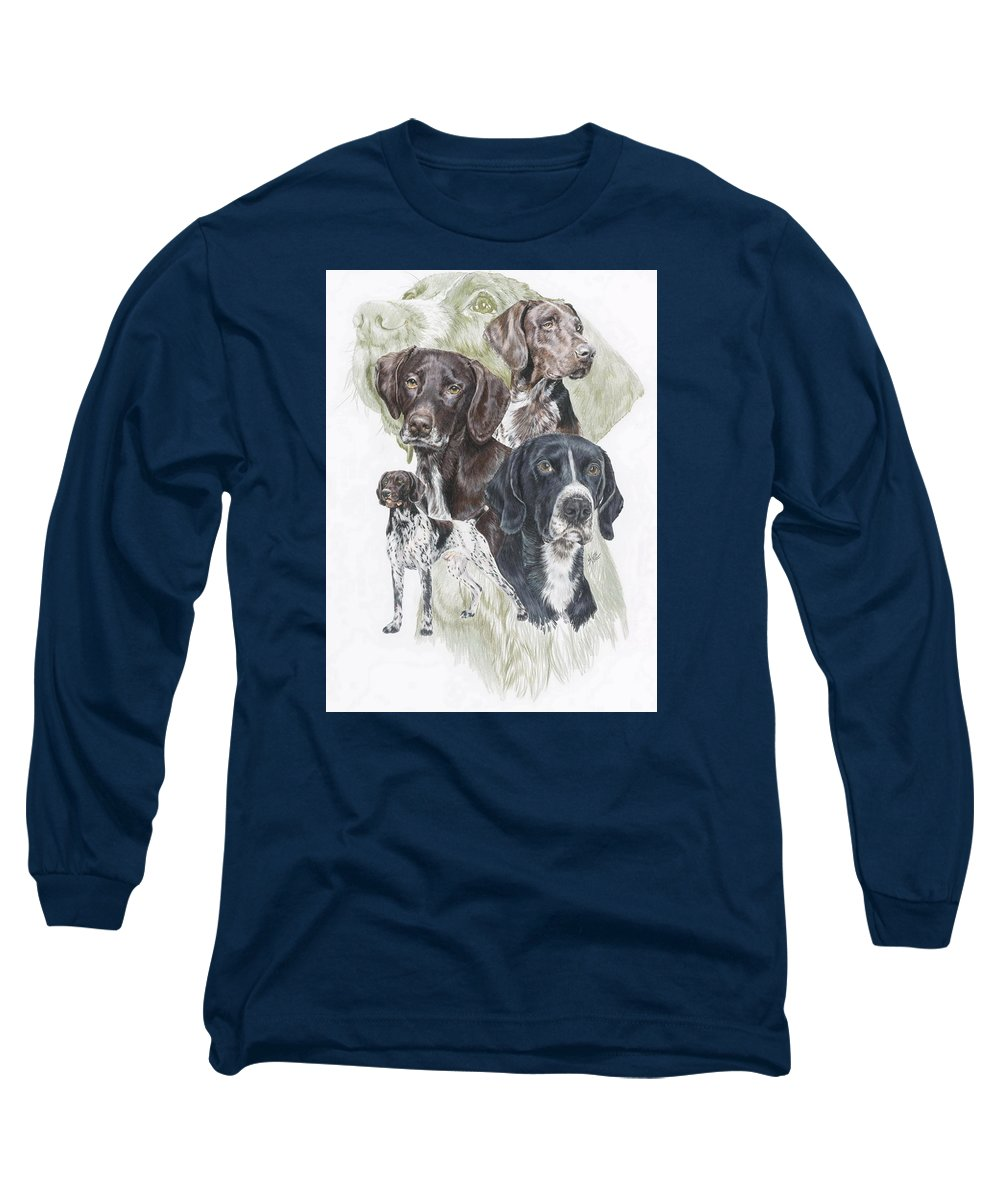 Gshp Long Sleeve T-Shirt featuring the mixed media German Shorted-haired Pointer W/ghost by Barbara Keith