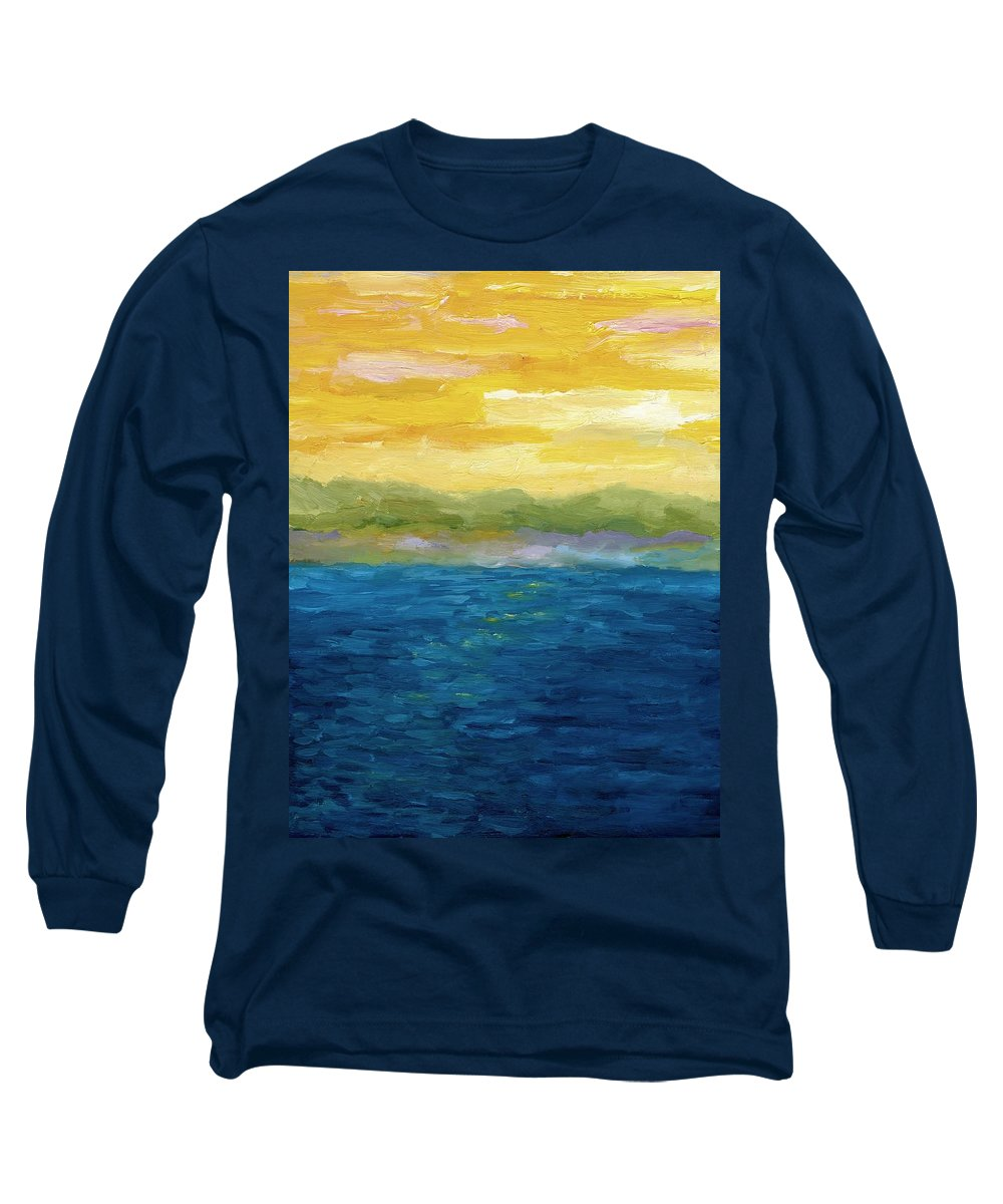 Lake Long Sleeve T-Shirt featuring the painting Gold And Pink Sunset by Michelle Calkins