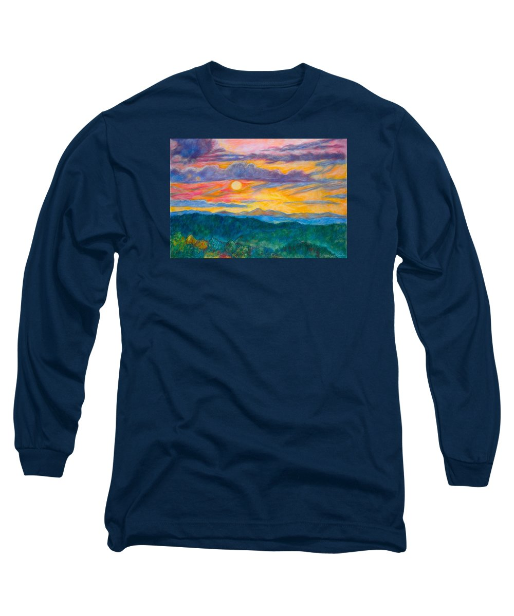 Landscape Long Sleeve T-Shirt featuring the painting Golden Blue Ridge Sunset by Kendall Kessler