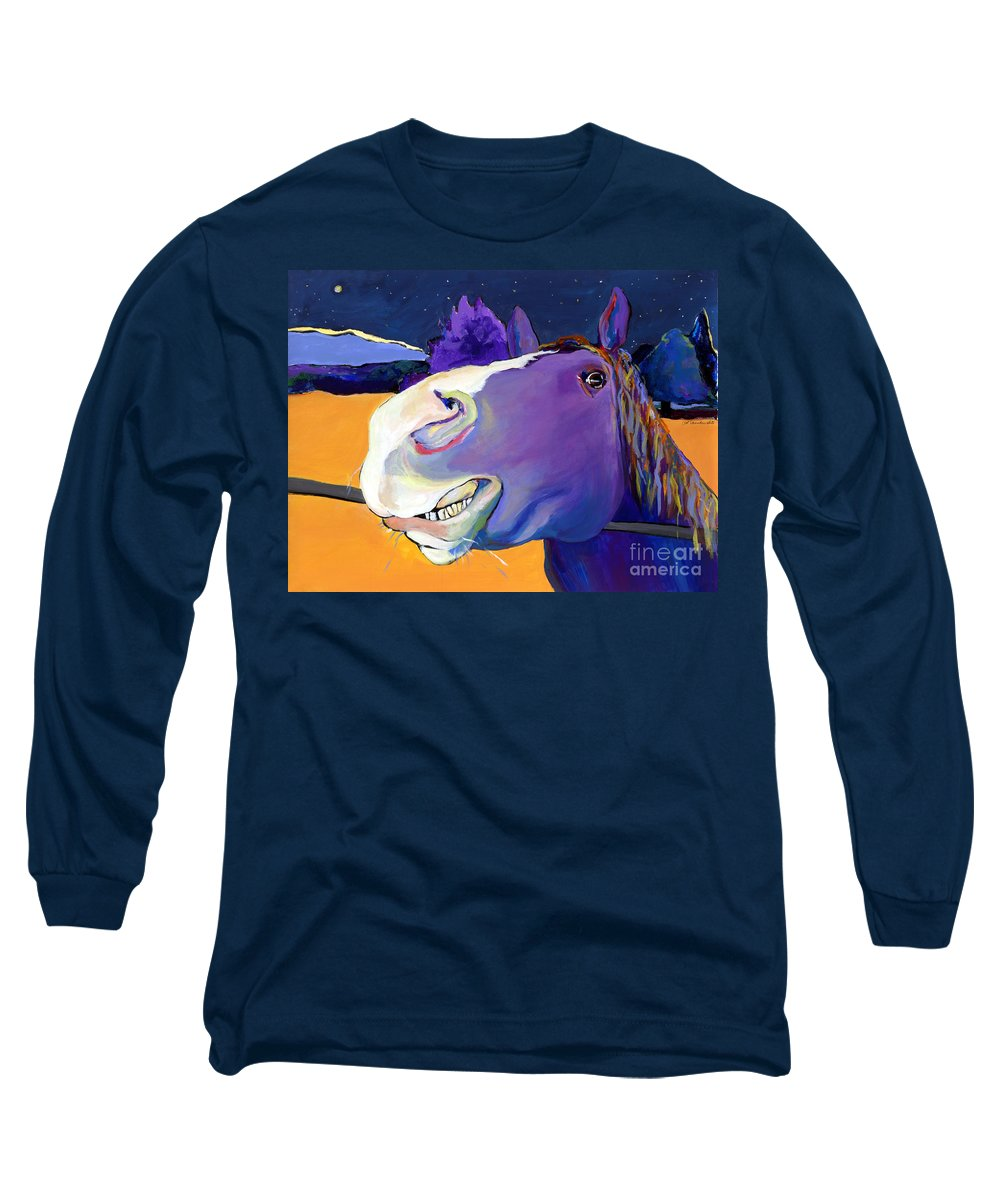 Barnyard Animal Long Sleeve T-Shirt featuring the painting Got Oats   by Pat Saunders-White