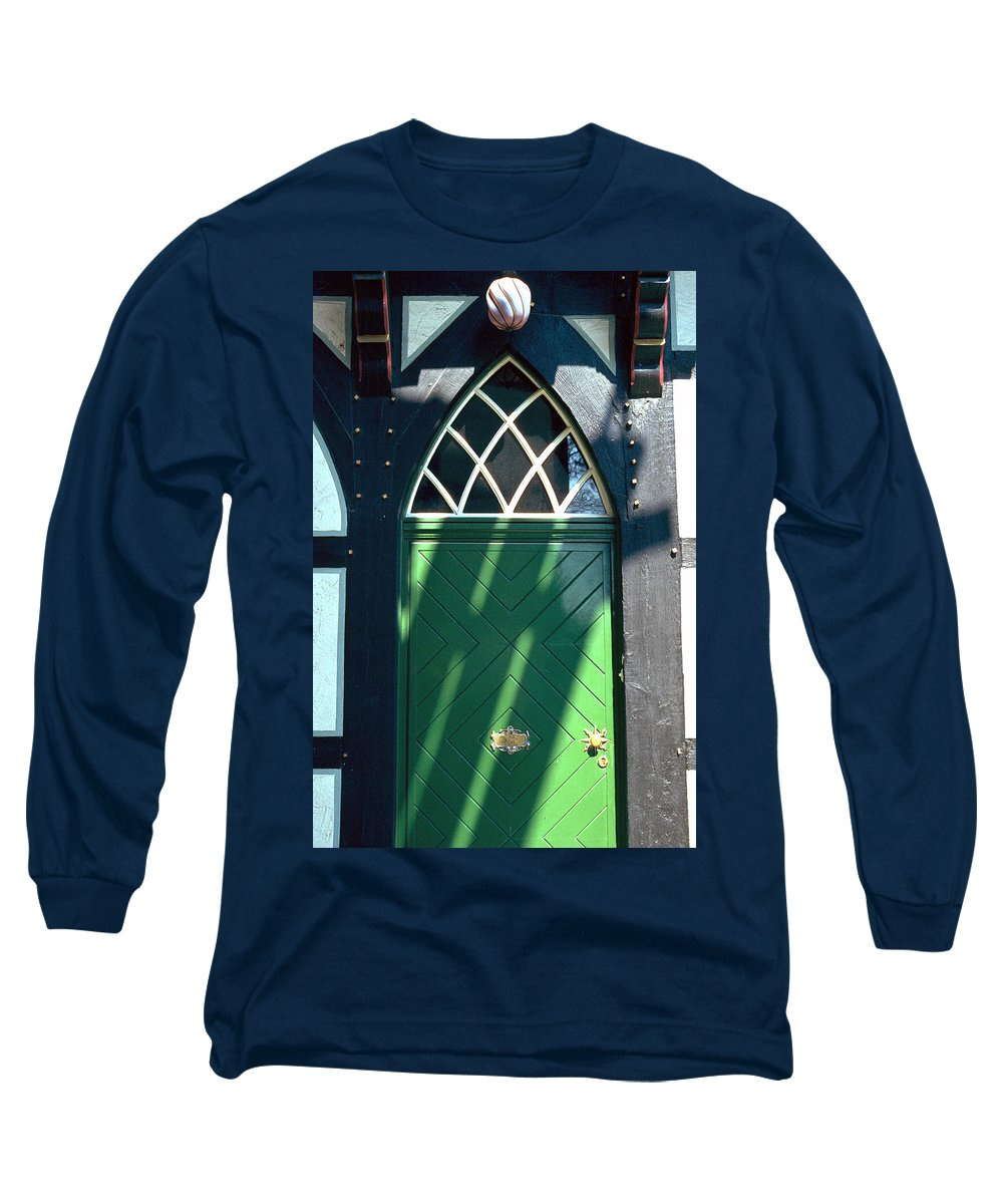 Green Long Sleeve T-Shirt featuring the photograph Green Door by Flavia Westerwelle