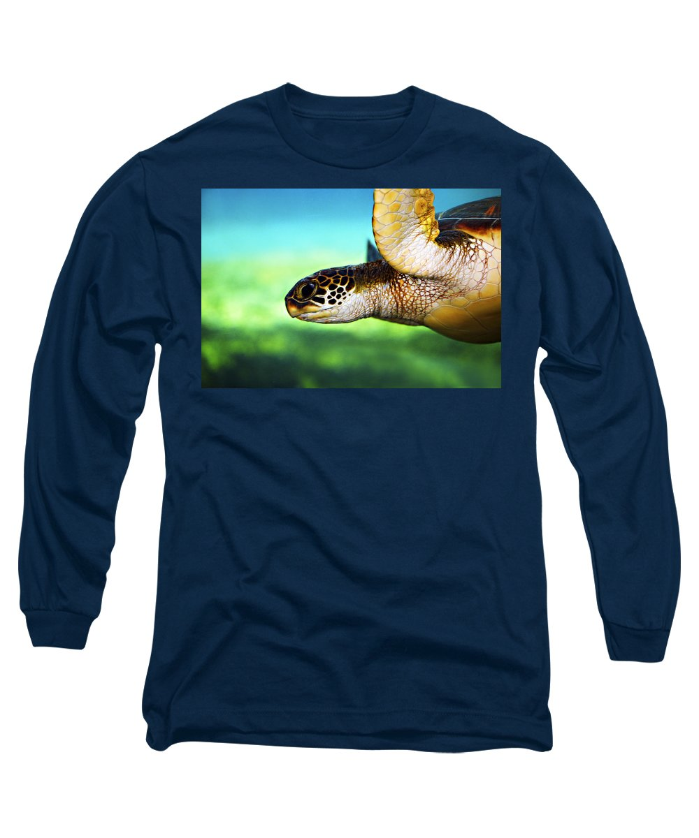 Green Long Sleeve T-Shirt featuring the photograph Green Sea Turtle by Marilyn Hunt