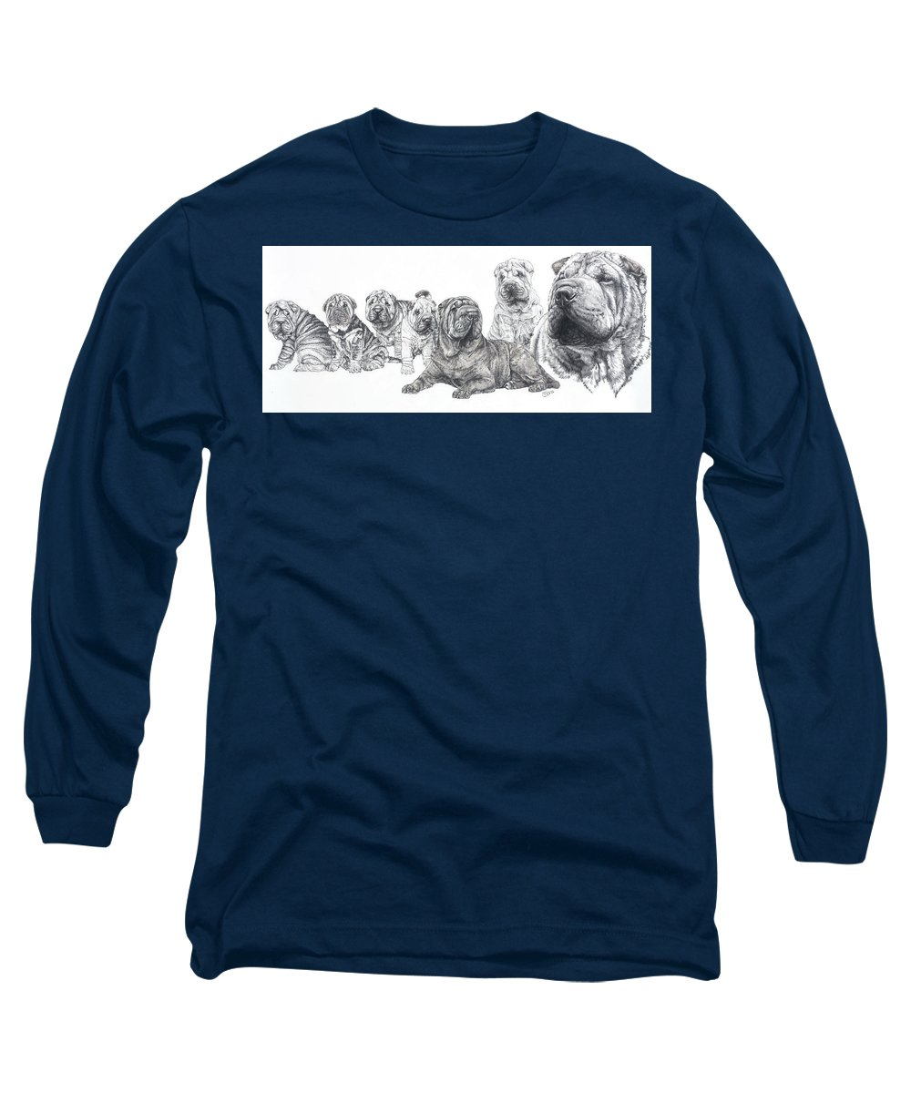 Non-sporting Group Long Sleeve T-Shirt featuring the drawing Growing Up Chinese Shar-pei by Barbara Keith