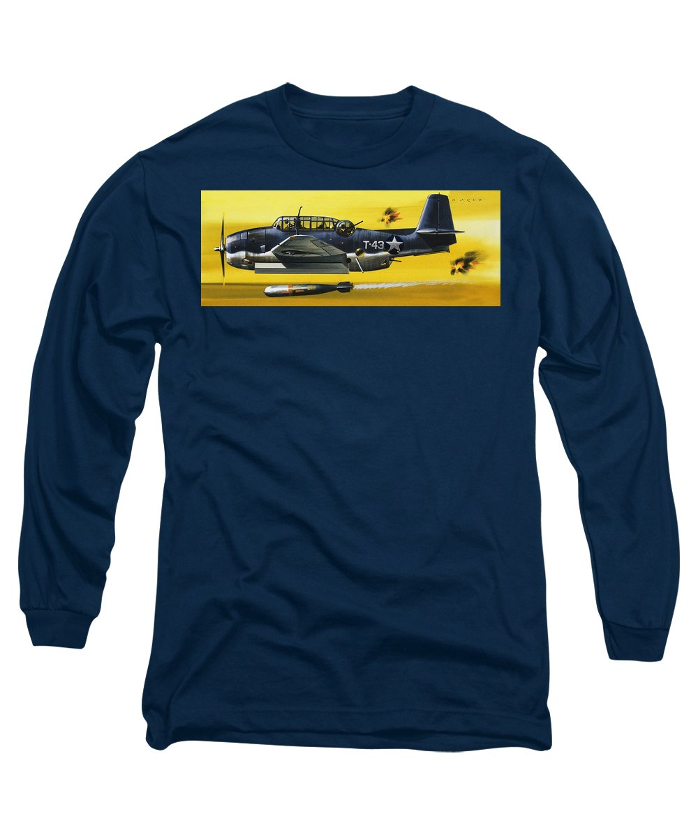 Bomb Long Sleeve T-Shirt featuring the painting Grummen Tbf1 Avenger Bomber by Wilf Hardy