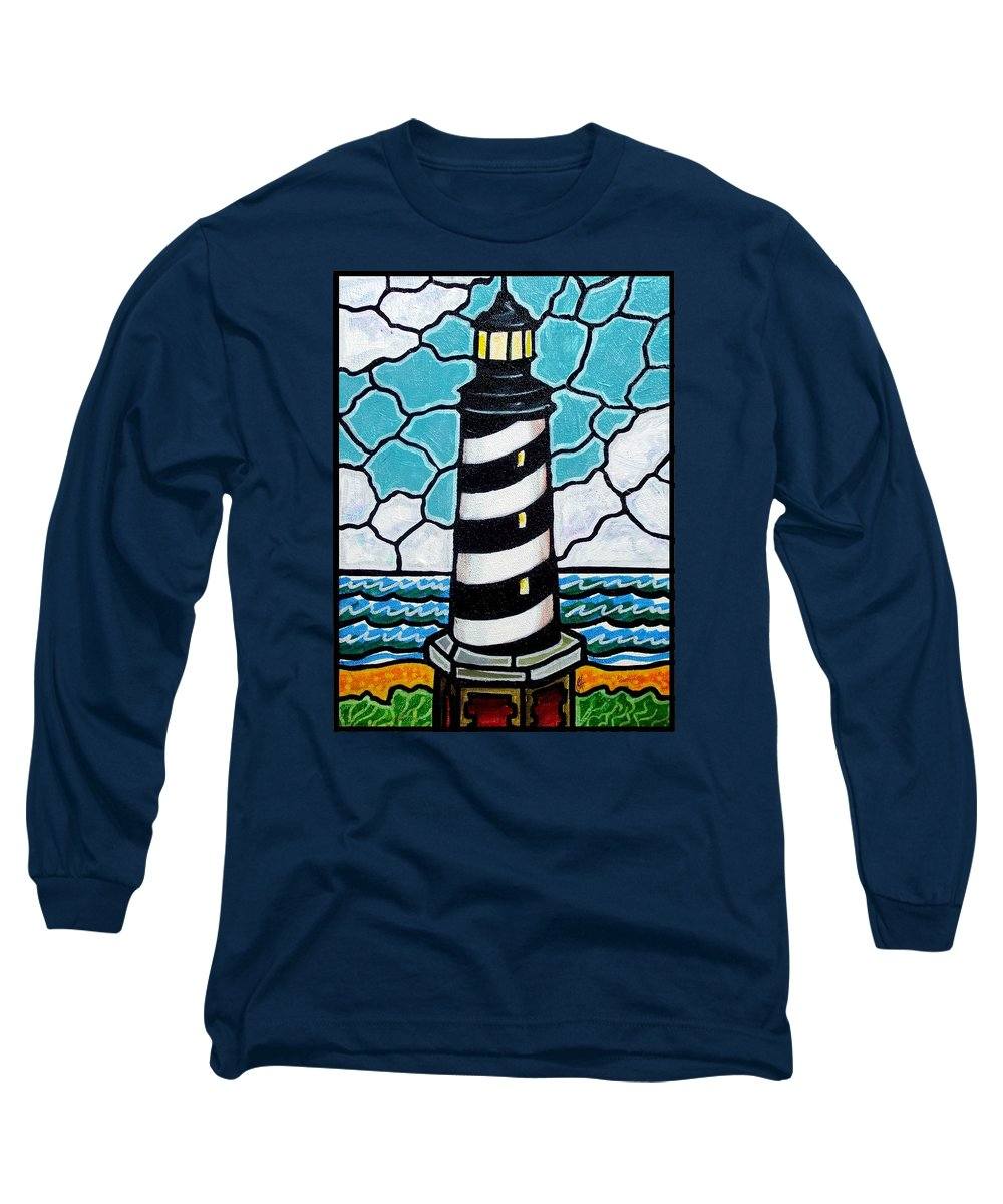 Lighthouse Long Sleeve T-Shirt featuring the painting Hatteras Island Lighthouse by Jim Harris