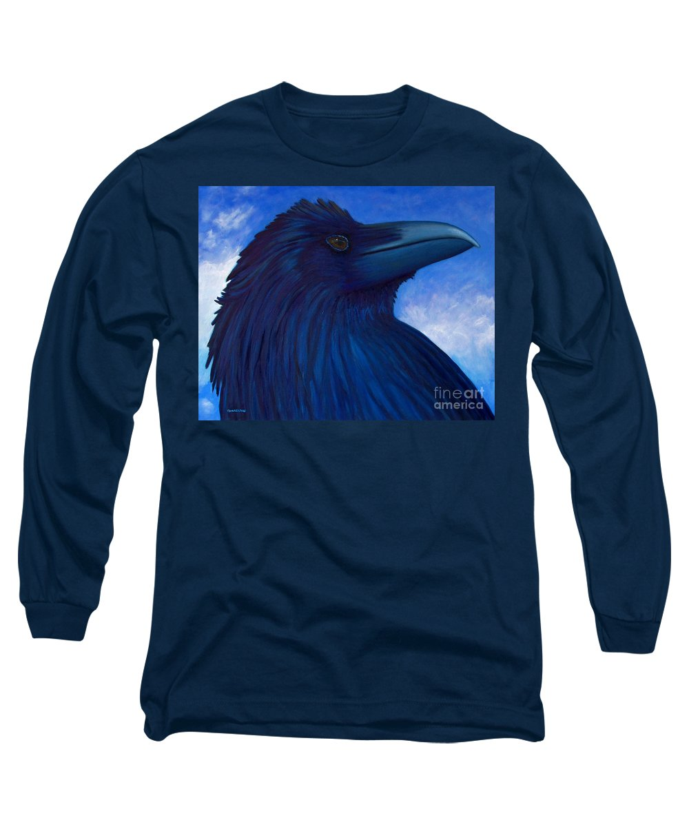 Raven Long Sleeve T-Shirt featuring the painting Heaven Bound by Brian Commerford