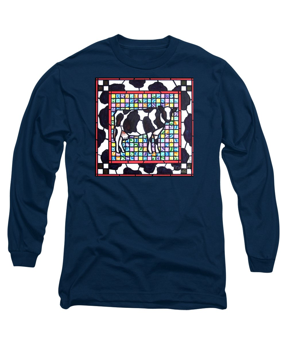 Cattke Long Sleeve T-Shirt featuring the painting Holstein 3 by Jim Harris
