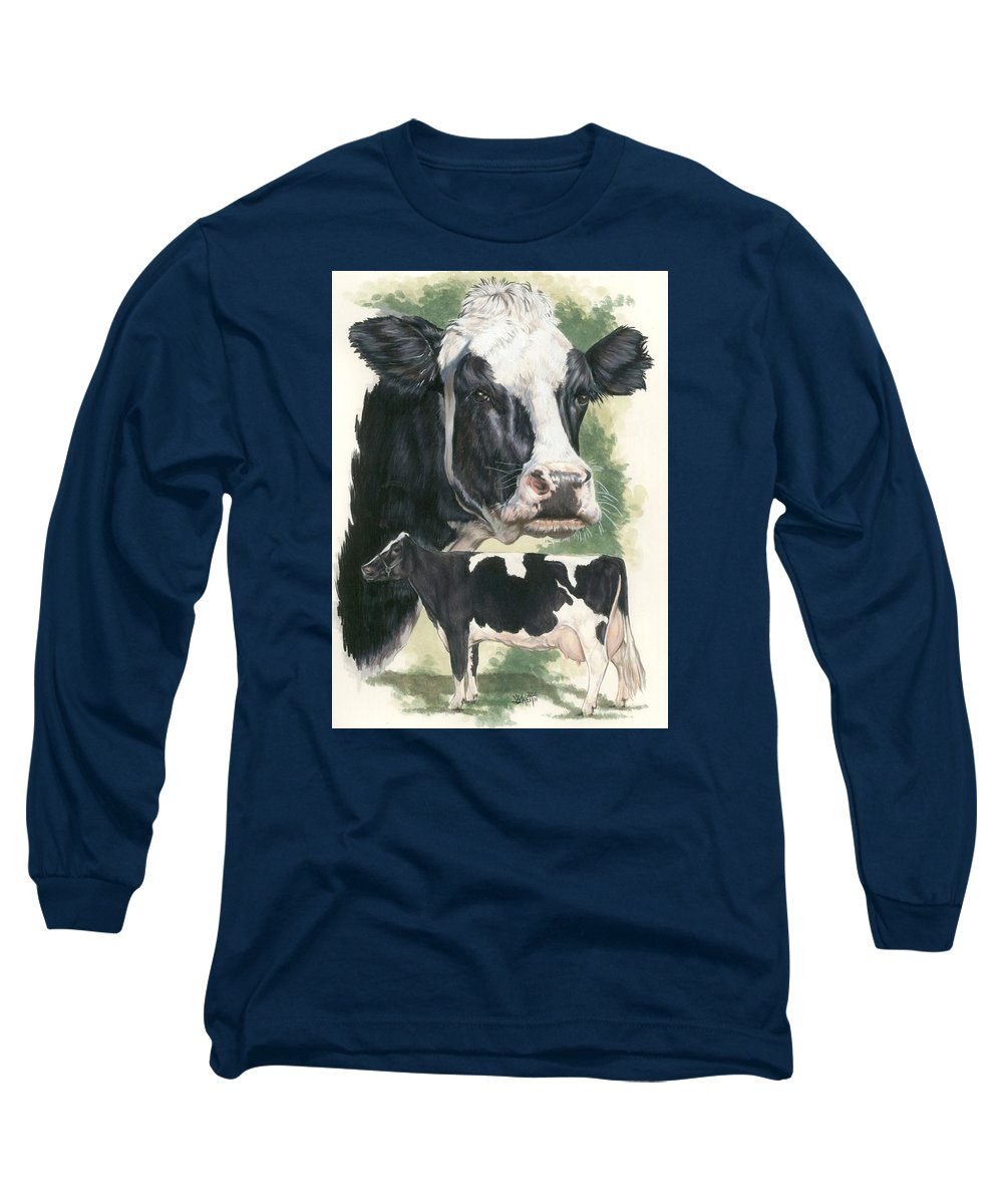 Cow Long Sleeve T-Shirt featuring the mixed media Holstein by Barbara Keith