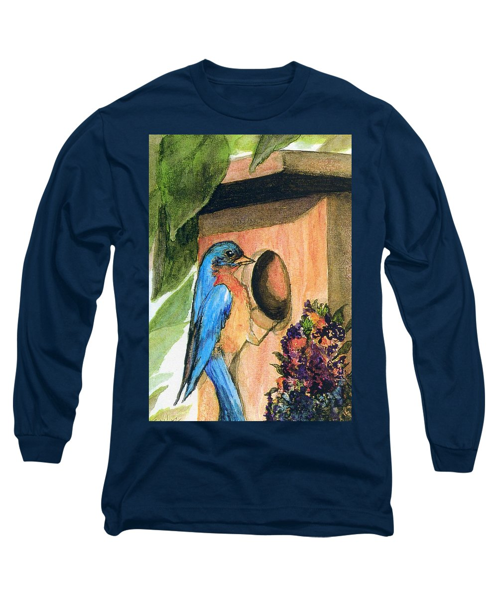 Bluebirds Long Sleeve T-Shirt featuring the painting Home Sweet Home by Gail Kirtz