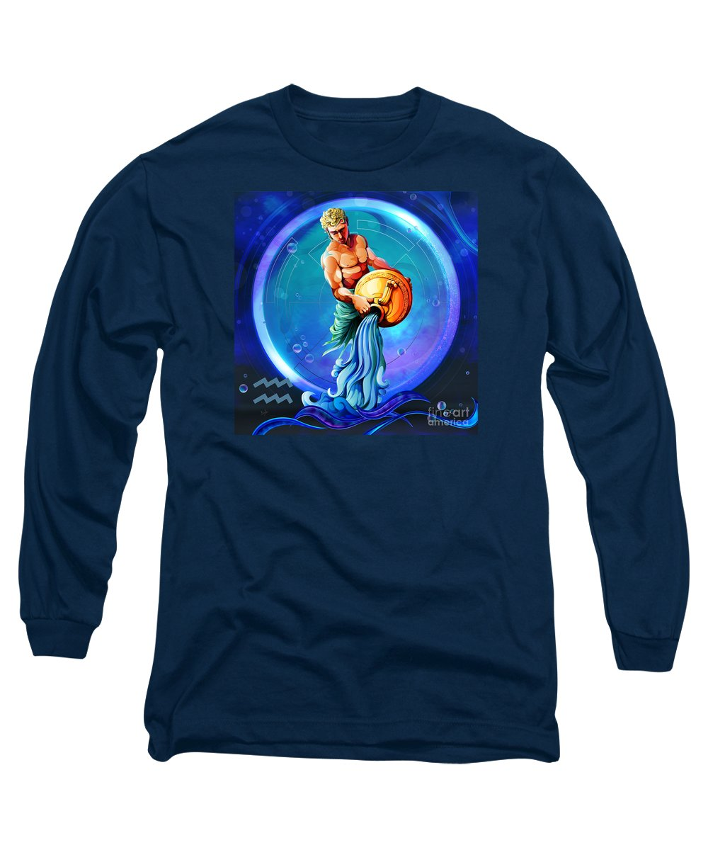 Zodiac Long Sleeve T-Shirt featuring the digital art Horoscope Signs-aquarius by Peter Awax