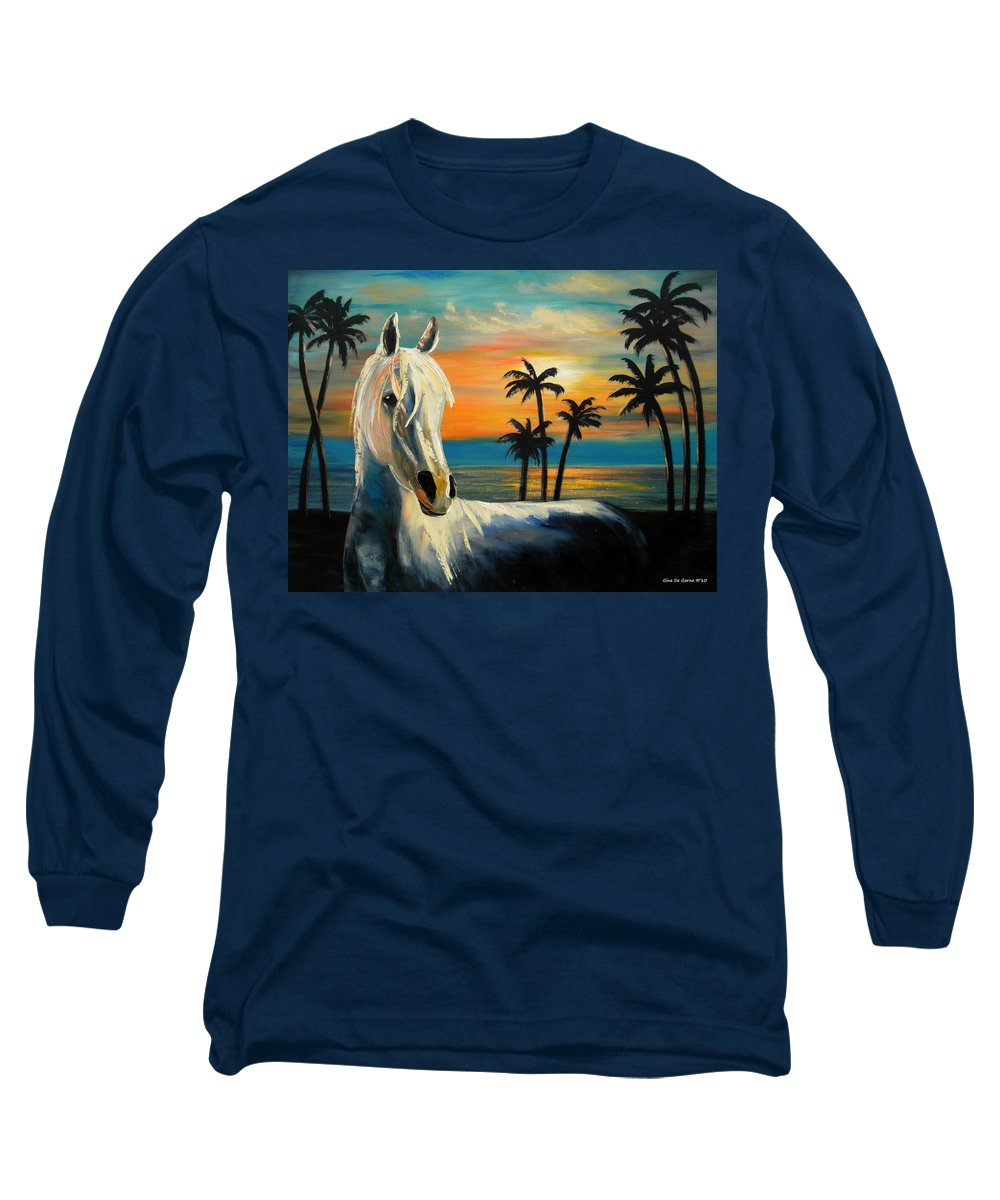 Horse Long Sleeve T-Shirt featuring the painting Horses In Paradise Tell Me Your Dream by Gina De Gorna