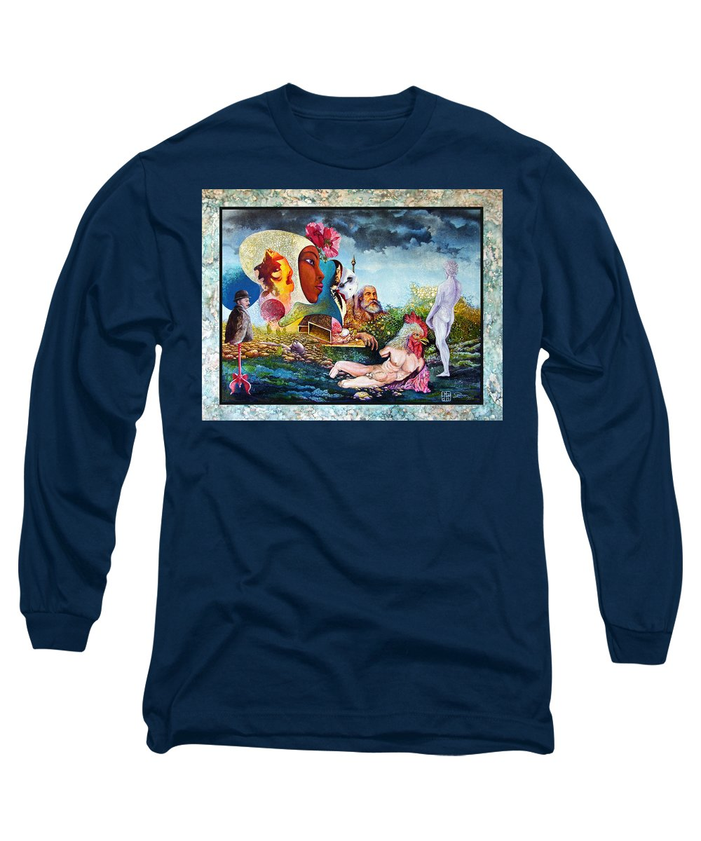 Surrealism Long Sleeve T-Shirt featuring the mixed media Hour Of The Cock by Otto Rapp