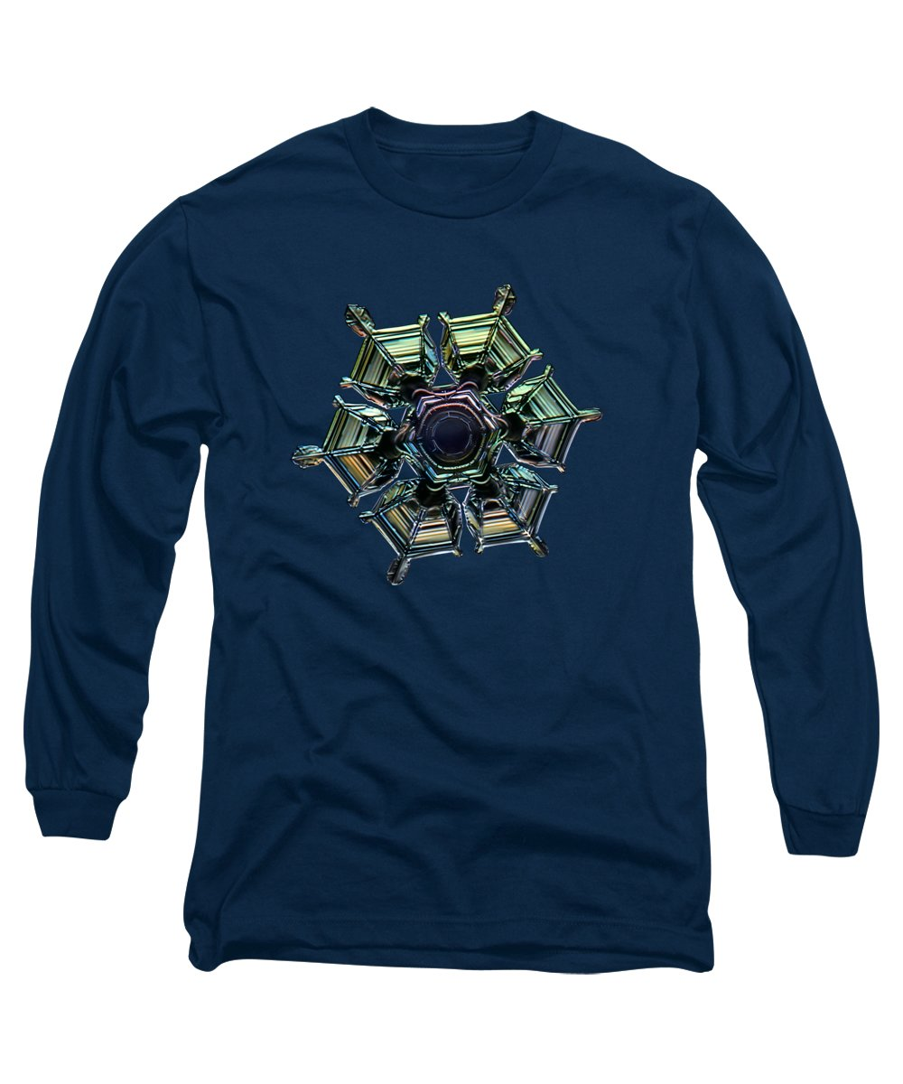 Snowflake Long Sleeve T-Shirt featuring the photograph Ice Relief, Black Version by Alexey Kljatov