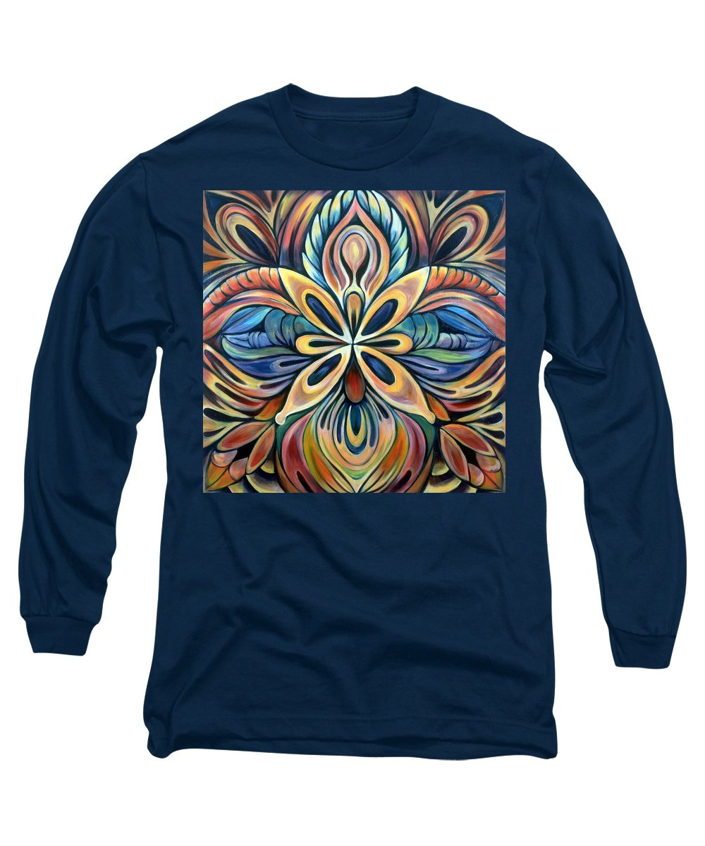 Mandala Long Sleeve T-Shirt featuring the painting Illumination by Shadia Derbyshire