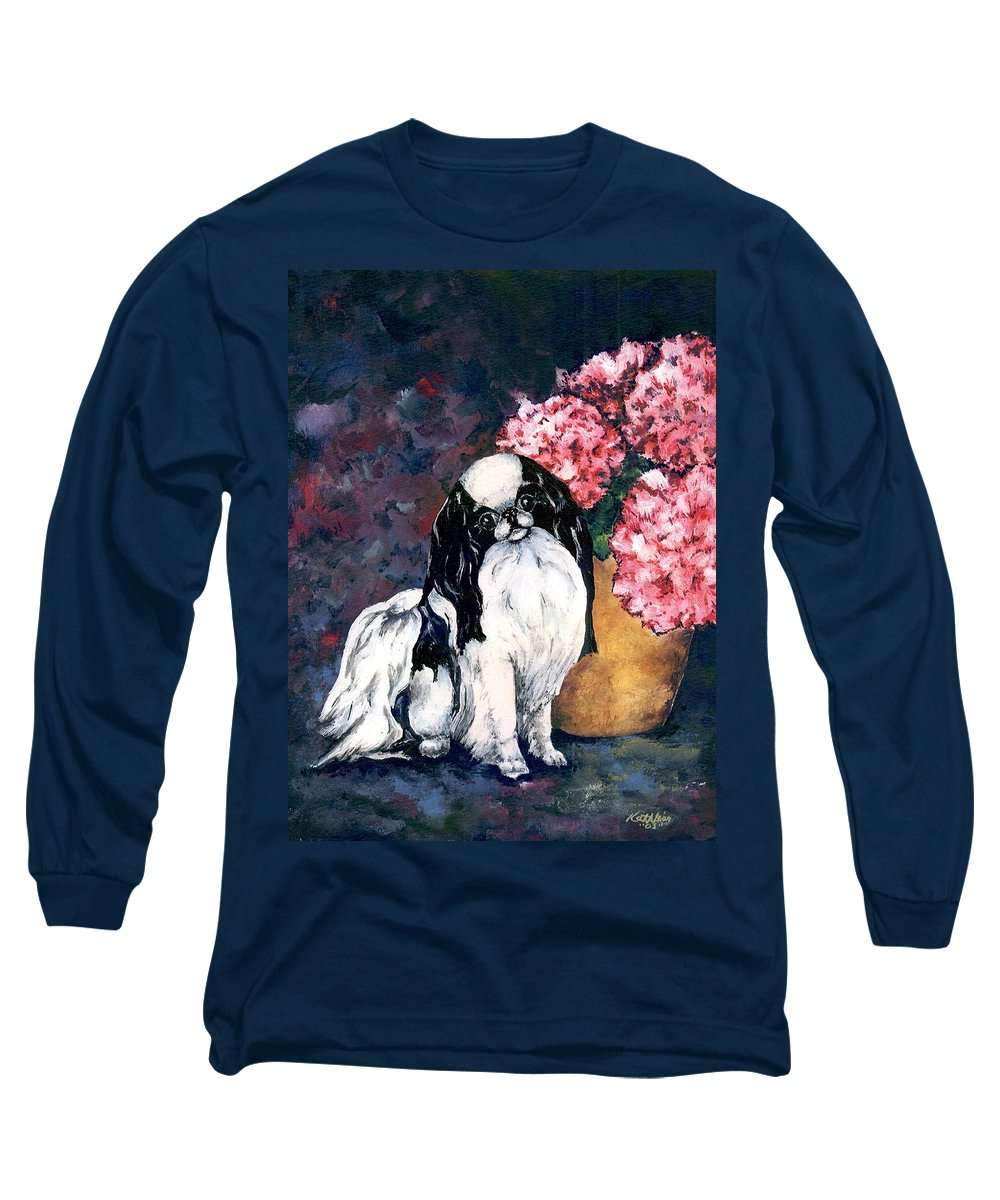 Japanese Chin Long Sleeve T-Shirt featuring the painting Japanese Chin And Hydrangeas by Kathleen Sepulveda
