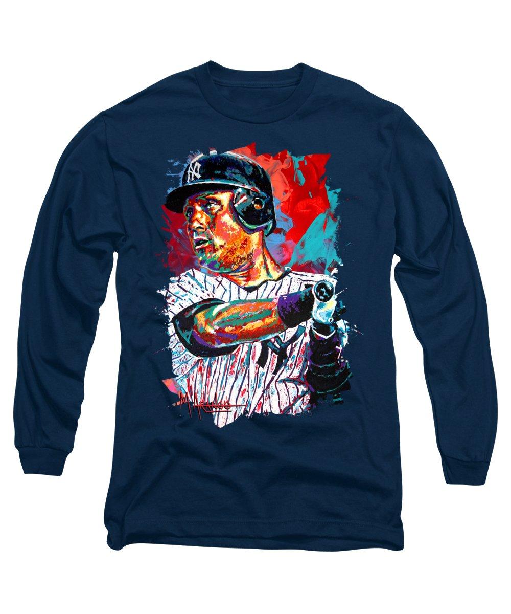 Derek Jeter Long Sleeve T-Shirt featuring the painting Jeter At Bat by Maria Arango