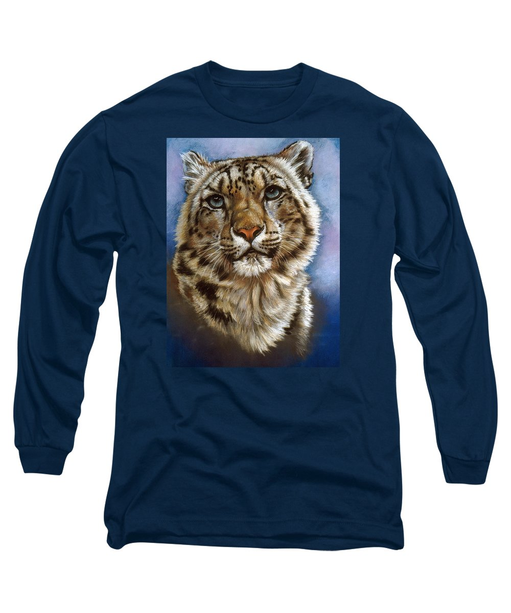 Snow Leopard Long Sleeve T-Shirt featuring the pastel Jewel by Barbara Keith